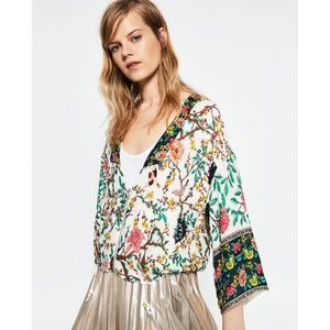 EUC Zara Birds Trees Asian Motifs Bomber Jacket